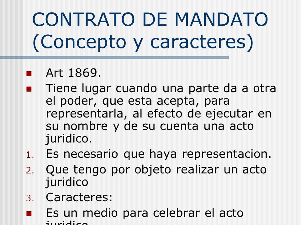 CONTRATO DE MANDATO (Concepto y caracteres)