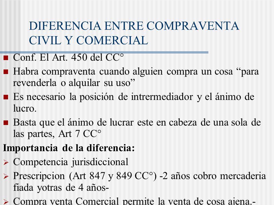 DIFERENCIA ENTRE COMPRAVENTA CIVIL Y COMERCIAL