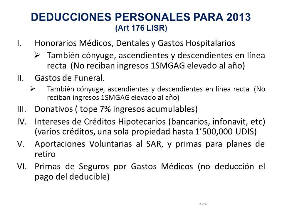 DEDUCCIONES PERSONALES PARA 2013 (Art 176 LISR)