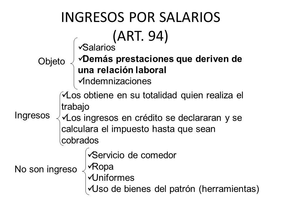 INGRESOS POR SALARIOS (ART. 94)