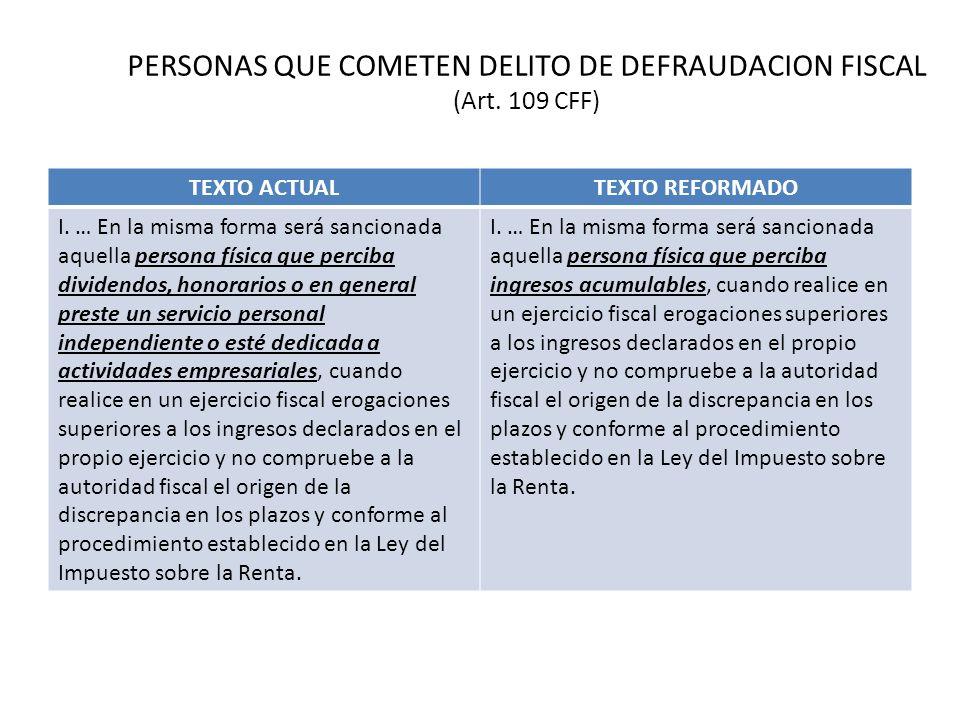 PERSONAS QUE COMETEN DELITO DE DEFRAUDACION FISCAL (Art. 109 CFF)