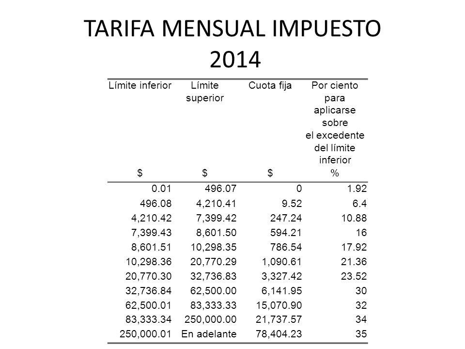 TARIFA MENSUAL IMPUESTO 2014