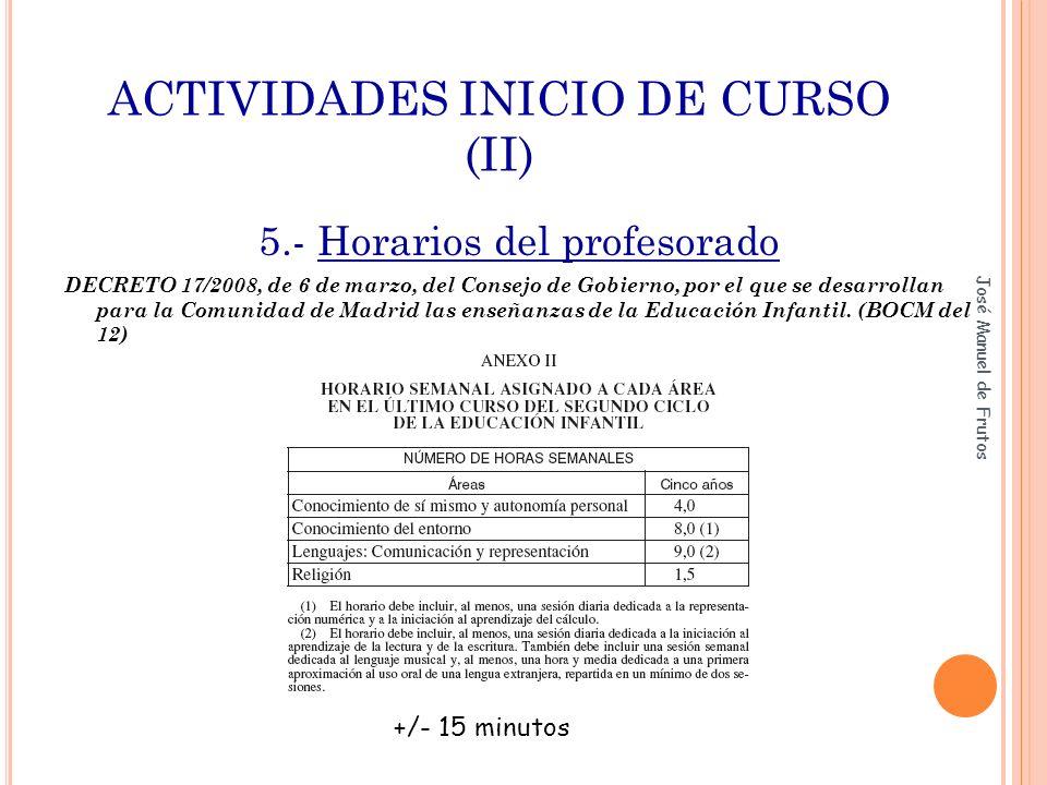 ACTIVIDADES INICIO DE CURSO (II)