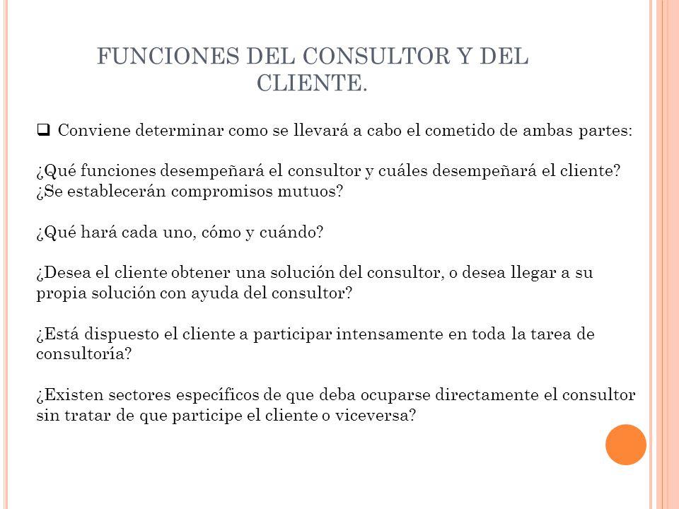 FUNCIONES DEL CONSULTOR Y DEL CLIENTE.