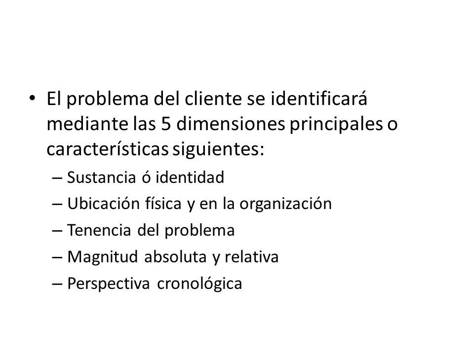 El problema del cliente se identificará mediante las 5 dimensiones principales o características siguientes: