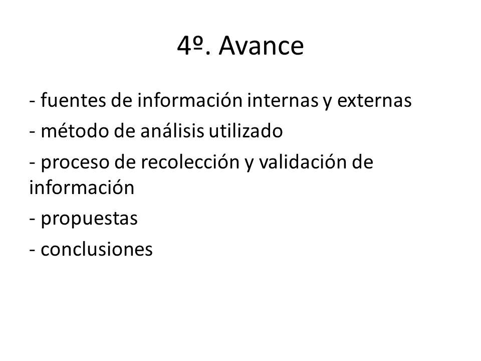 4º. Avance - fuentes de información internas y externas