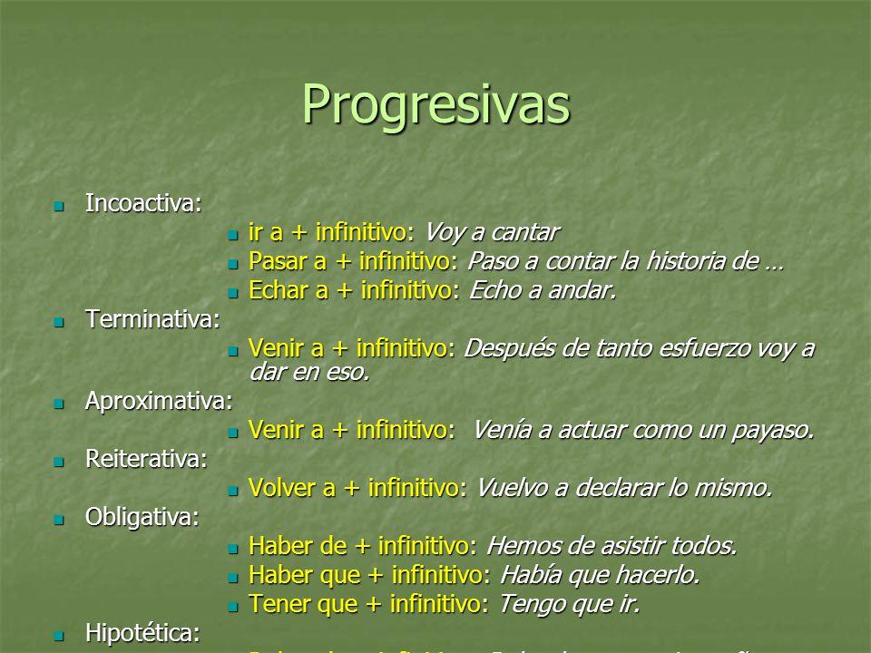 Progresivas Incoactiva: ir a + infinitivo: Voy a cantar