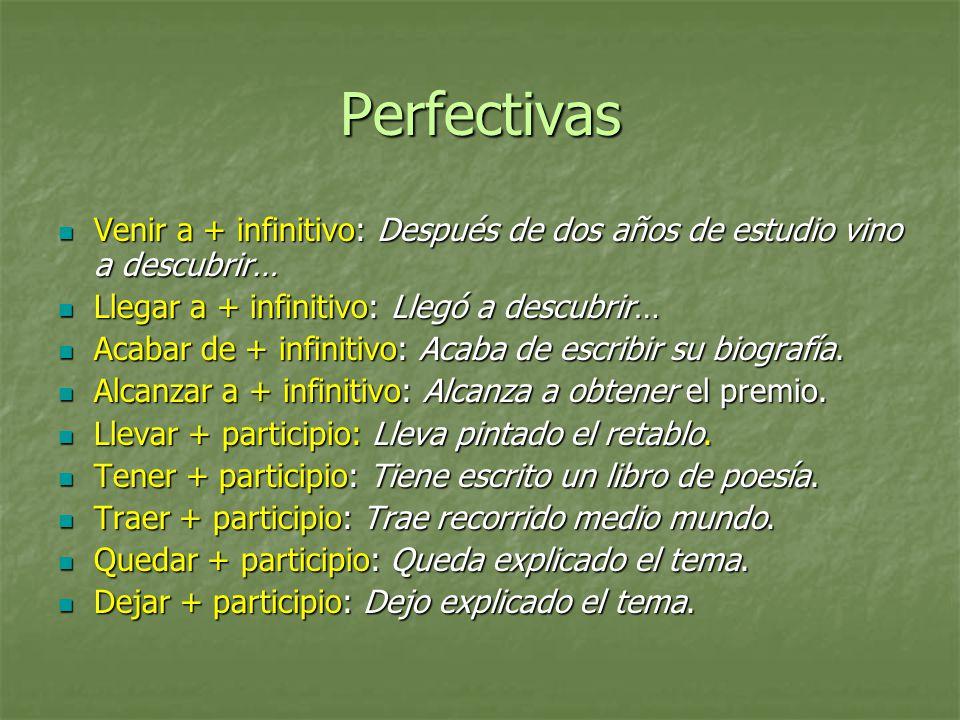 Perfectivas Venir a + infinitivo: Después de dos años de estudio vino a descubrir… Llegar a + infinitivo: Llegó a descubrir…