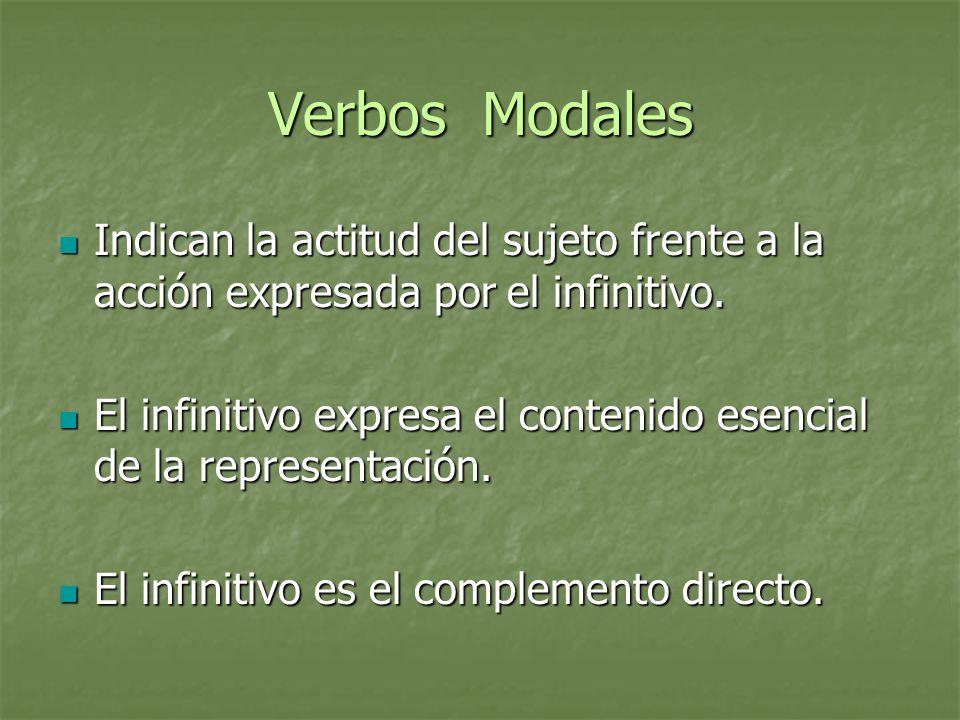 Verbos Modales Indican la actitud del sujeto frente a la acción expresada por el infinitivo.