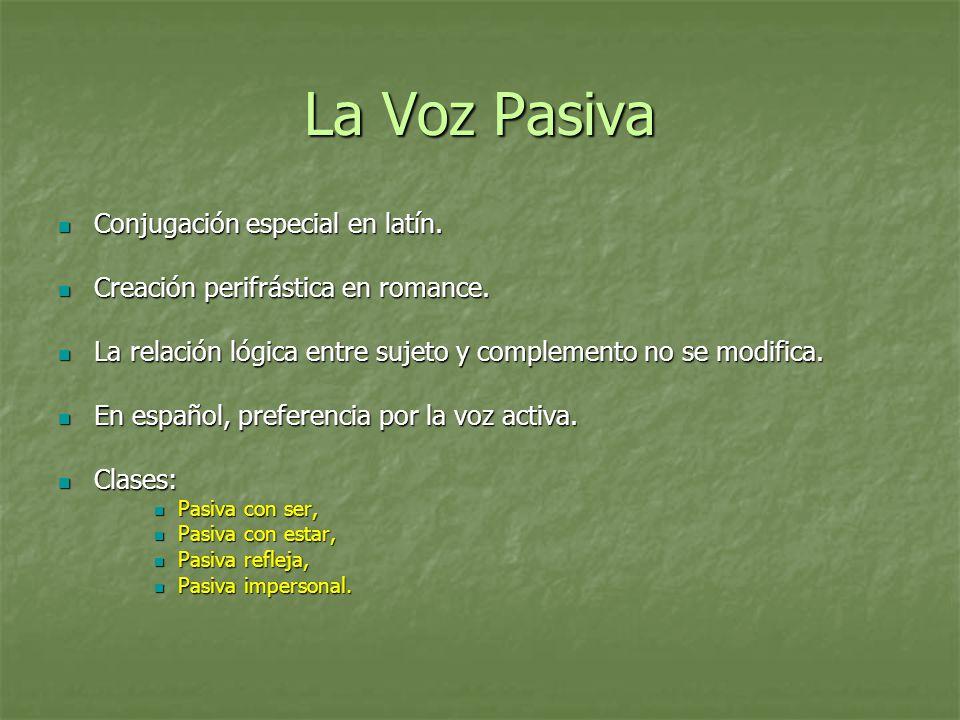 La Voz Pasiva Conjugación especial en latín.