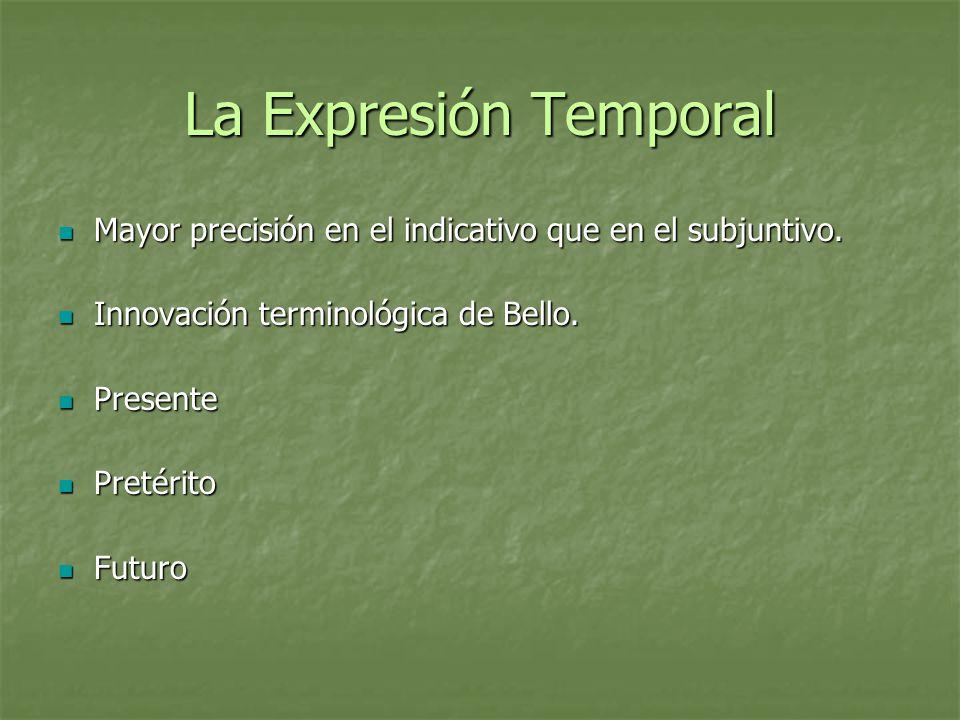 La Expresión Temporal Mayor precisión en el indicativo que en el subjuntivo. Innovación terminológica de Bello.