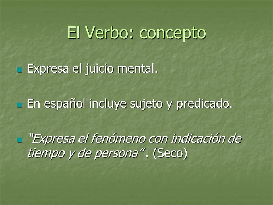 El Verbo: concepto Expresa el juicio mental.