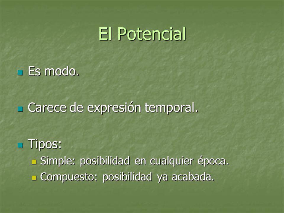 El Potencial Es modo. Carece de expresión temporal. Tipos:
