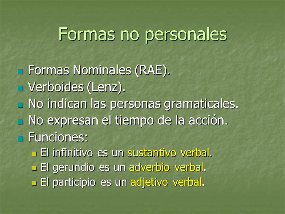 Formas no personales Formas Nominales (RAE). Verboides (Lenz).