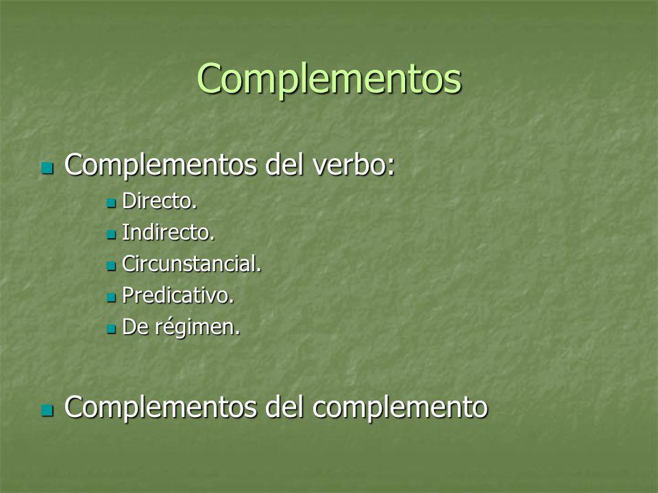 Complementos Complementos del verbo: Complementos del complemento