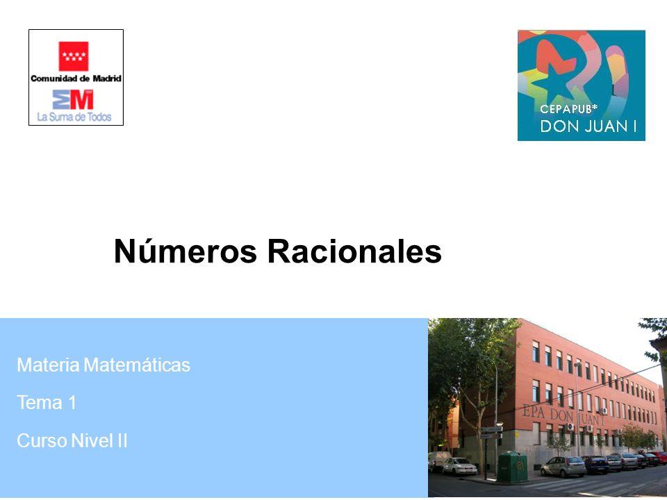 Números Racionales Materia Matemáticas Tema 1 Curso Nivel II