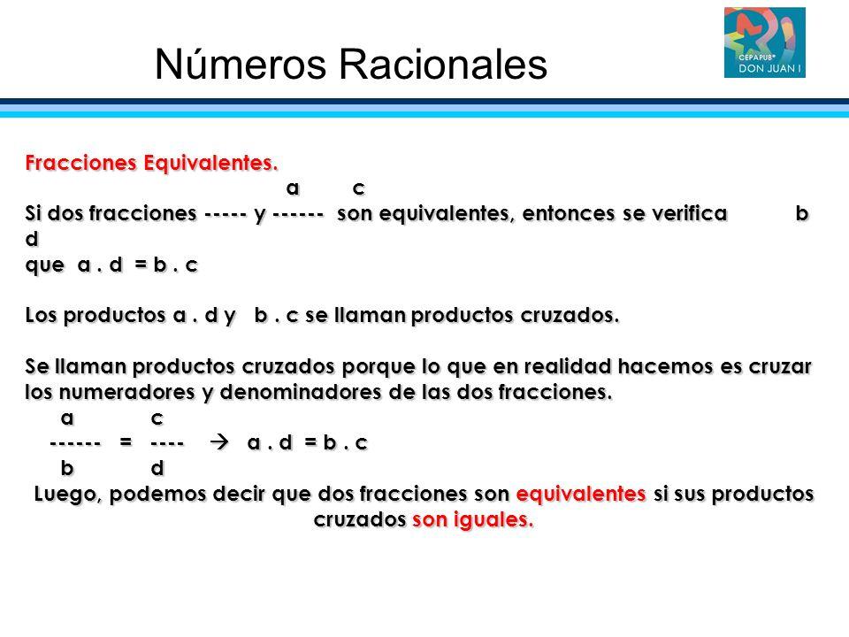 Números Racionales Fracciones Equivalentes. a c