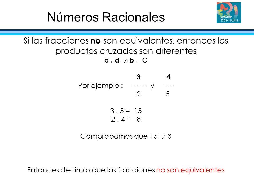 Números Racionales Si las fracciones no son equivalentes, entonces los productos cruzados son diferentes.