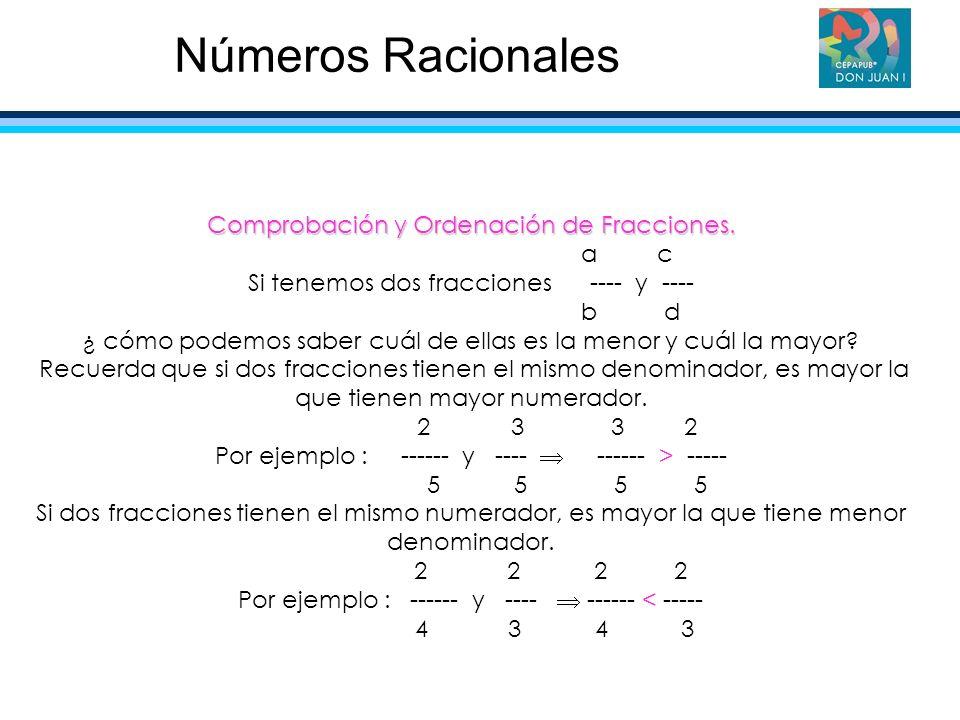 Números Racionales Comprobación y Ordenación de Fracciones. a c