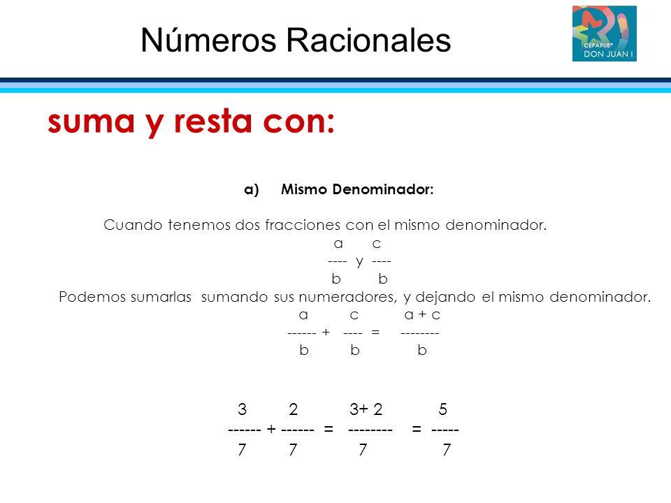 Números Racionales suma y resta con: 3 2 3+ 2 5