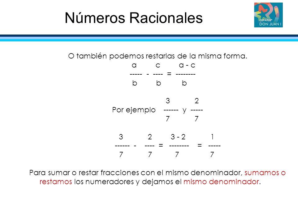 Números Racionales O también podemos restarlas de la misma forma.