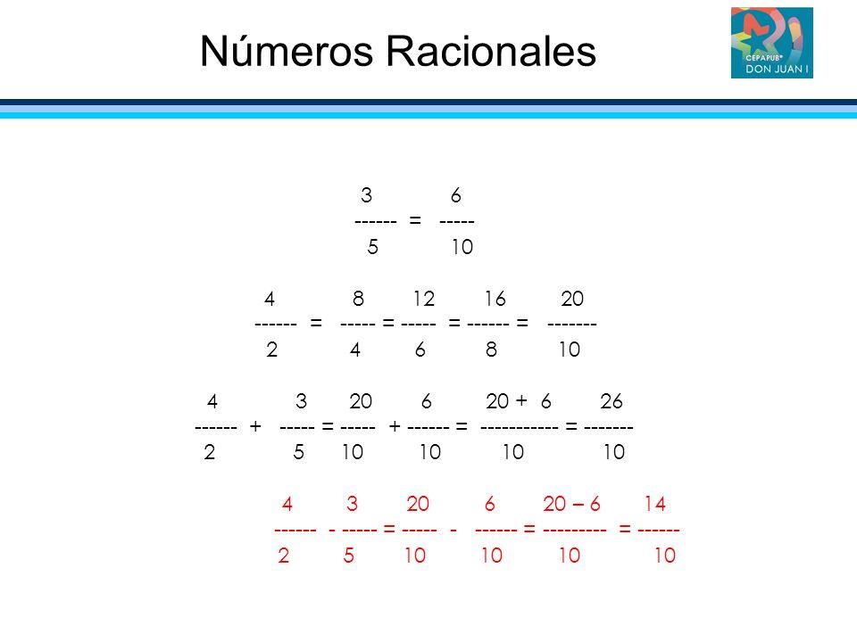 Números Racionales 3 6 ------ = ----- 5 10 4 8 12 16 20