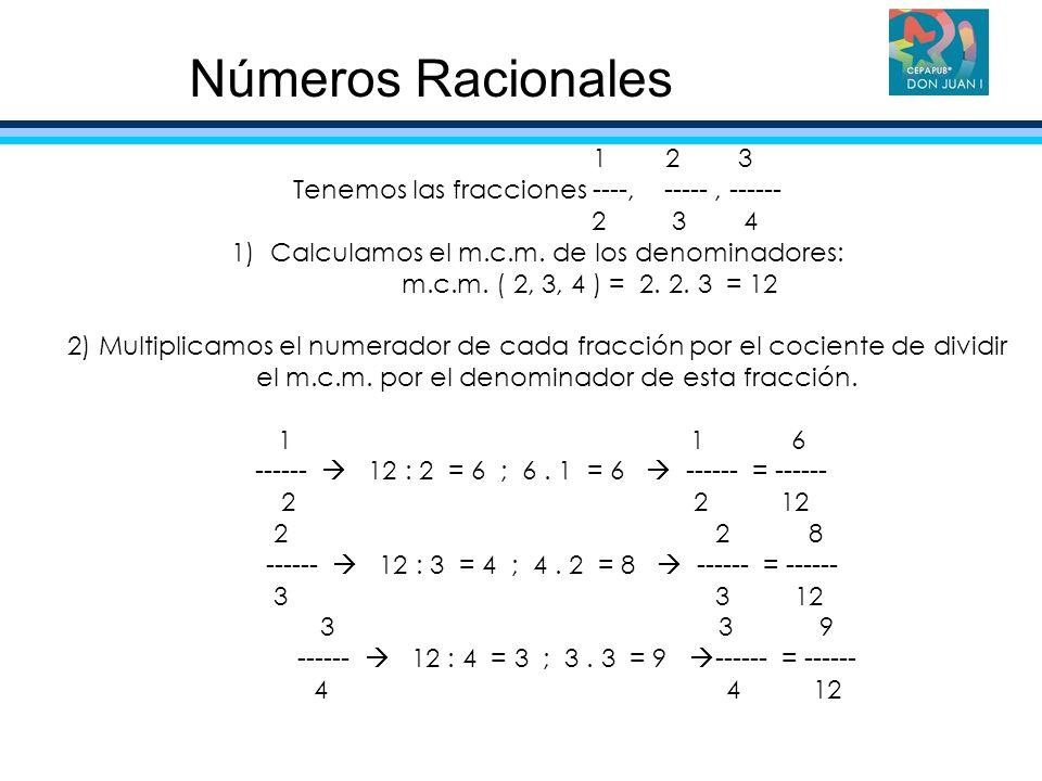Números Racionales 1 2 3 Tenemos las fracciones ----, ----- , ------