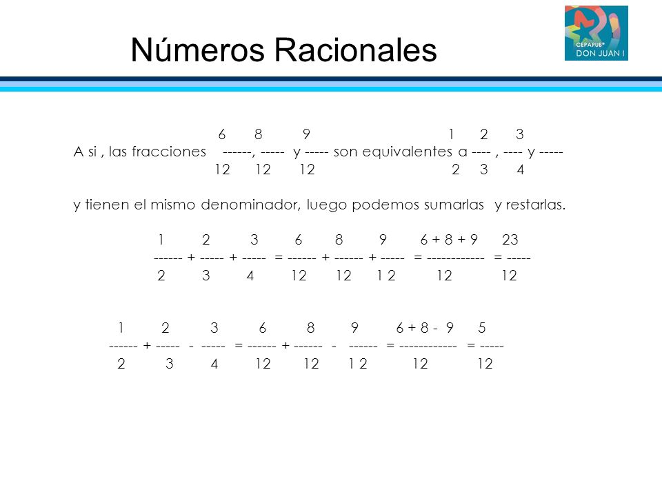 Números Racionales 6 8 9 1 2 3.