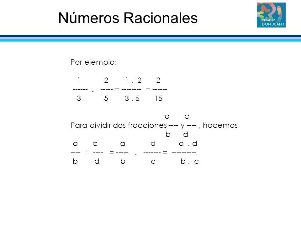 Números Racionales Por ejemplo: 1 2 1 . 2 2