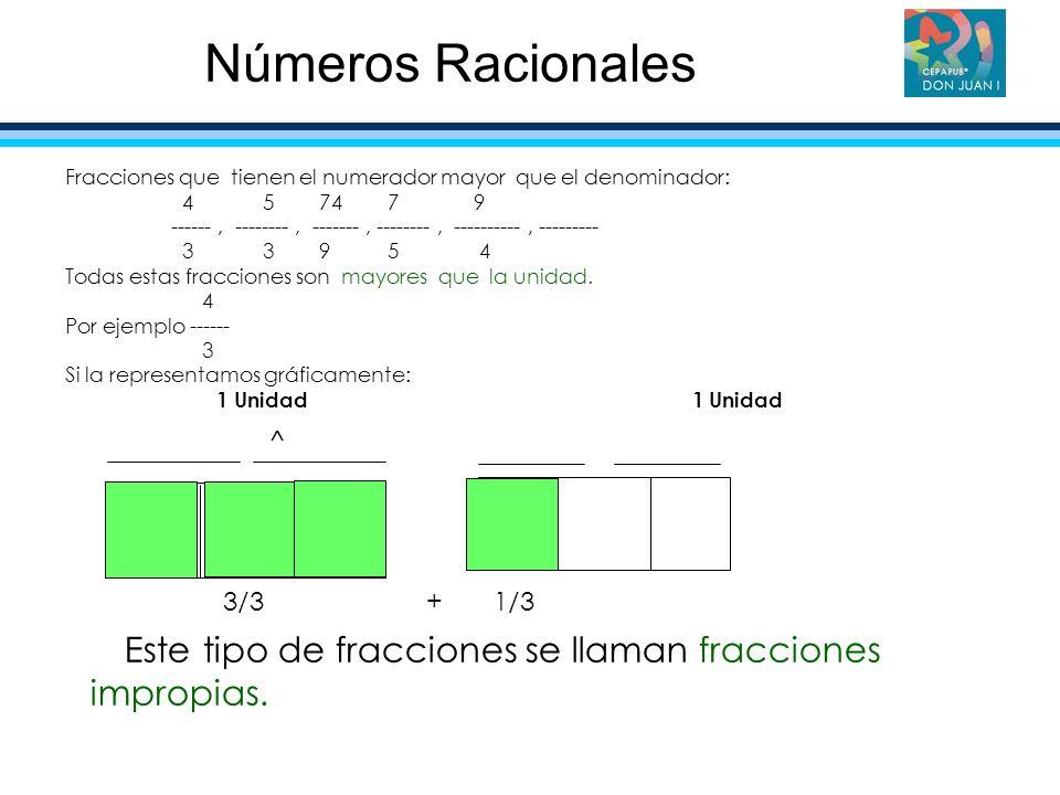 Números Racionales Fracciones que tienen el numerador mayor que el denominador: 4 5 74 7 9.