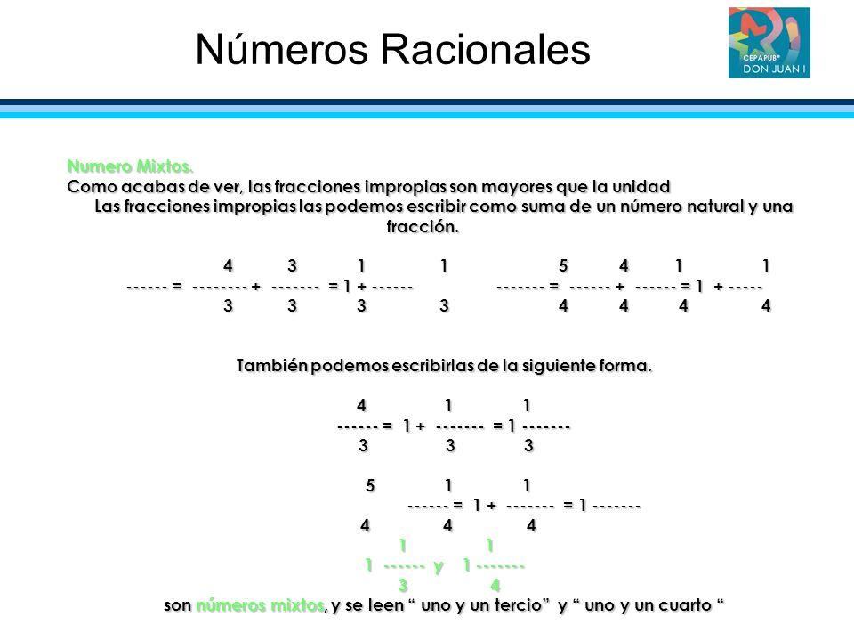 Números Racionales Numero Mixtos.