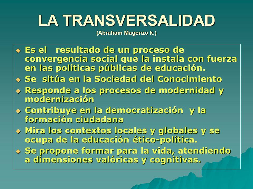 LA TRANSVERSALIDAD (Abraham Magenzo k.)