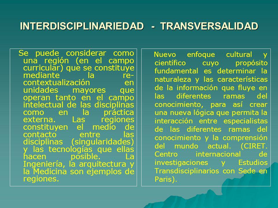 INTERDISCIPLINARIEDAD - TRANSVERSALIDAD