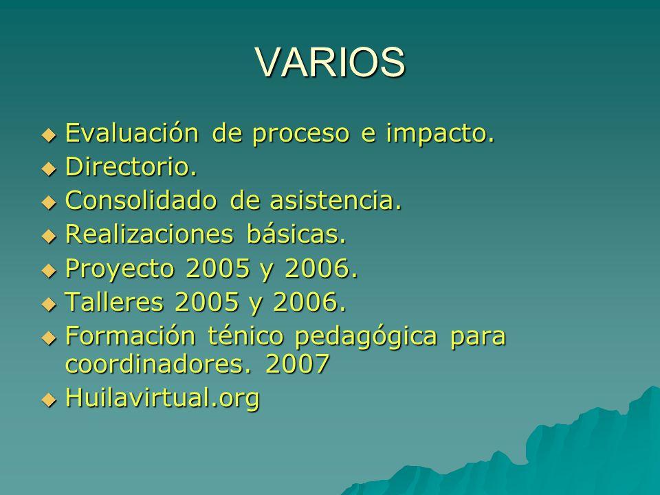 VARIOS Evaluación de proceso e impacto. Directorio.