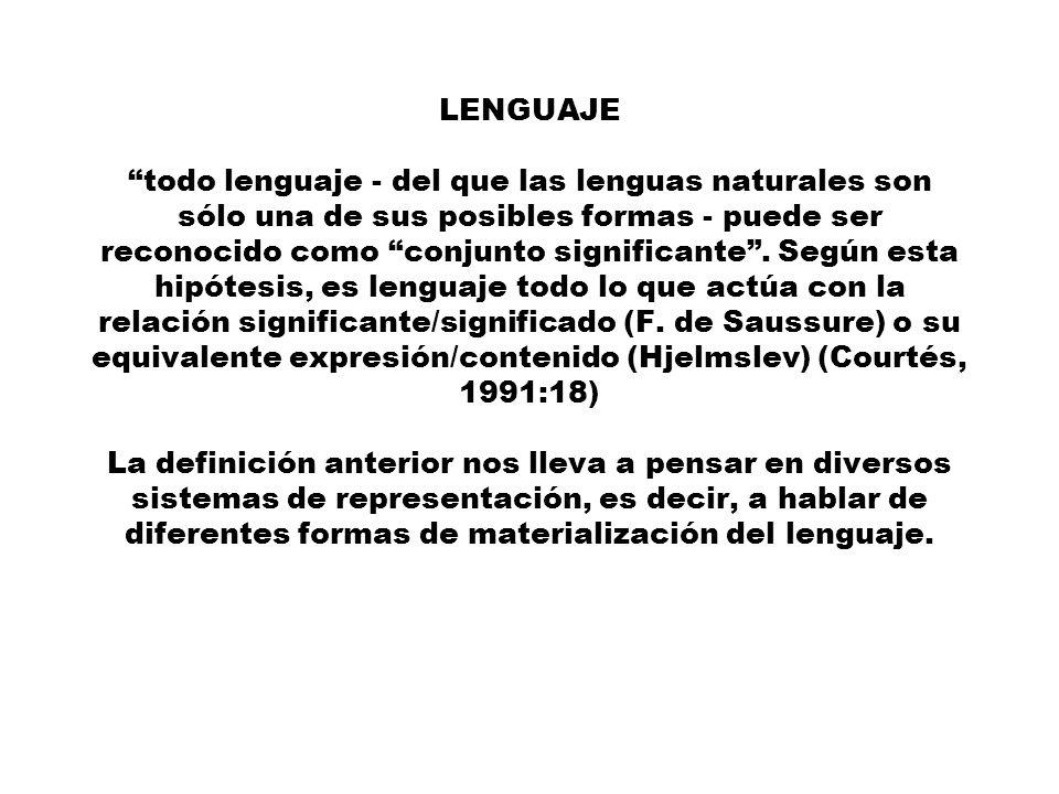 LENGUAJE todo lenguaje - del que las lenguas naturales son sólo una de sus posibles formas - puede ser reconocido como conjunto significante .