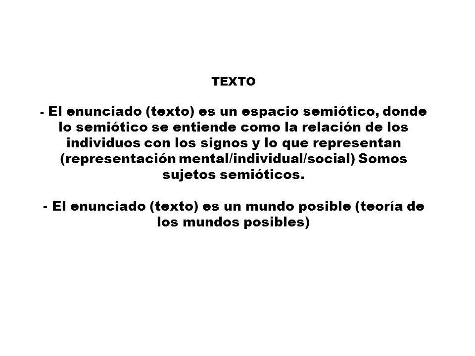 TEXTO - El enunciado (texto) es un espacio semiótico, donde lo semiótico se entiende como la relación de los individuos con los signos y lo que representan (representación mental/individual/social) Somos sujetos semióticos.