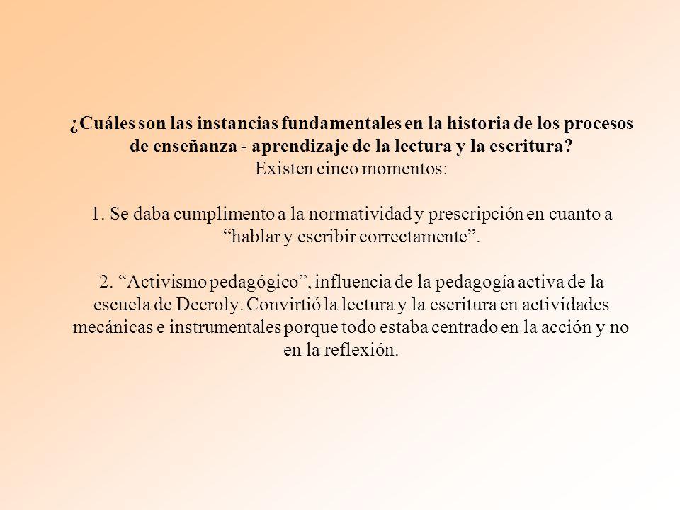 ¿Cuáles son las instancias fundamentales en la historia de los procesos de enseñanza - aprendizaje de la lectura y la escritura.