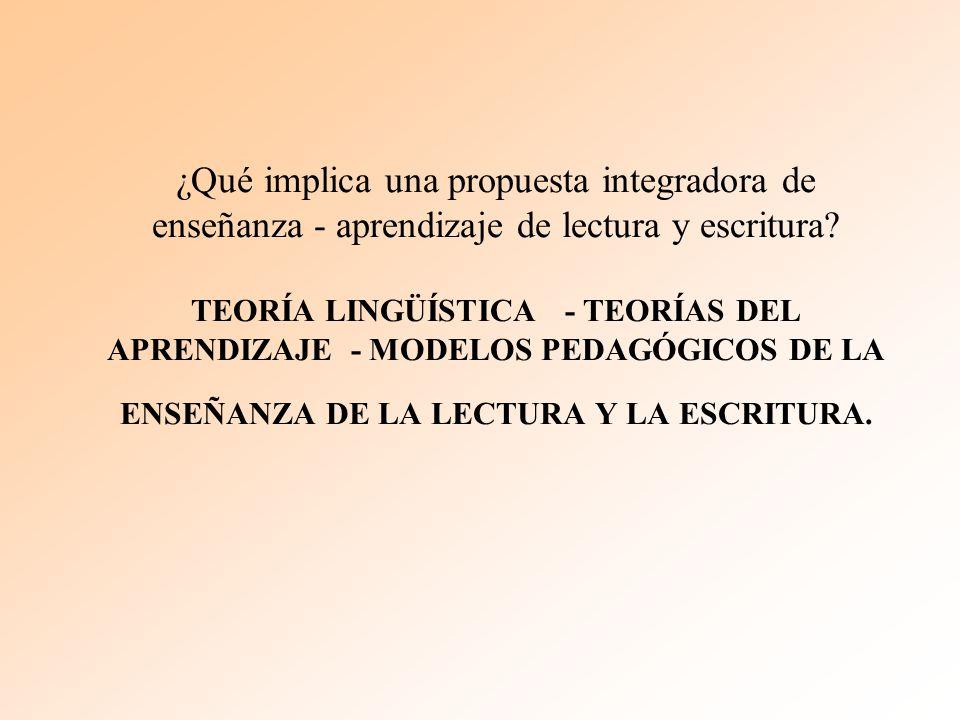 ¿Qué implica una propuesta integradora de enseñanza - aprendizaje de lectura y escritura.