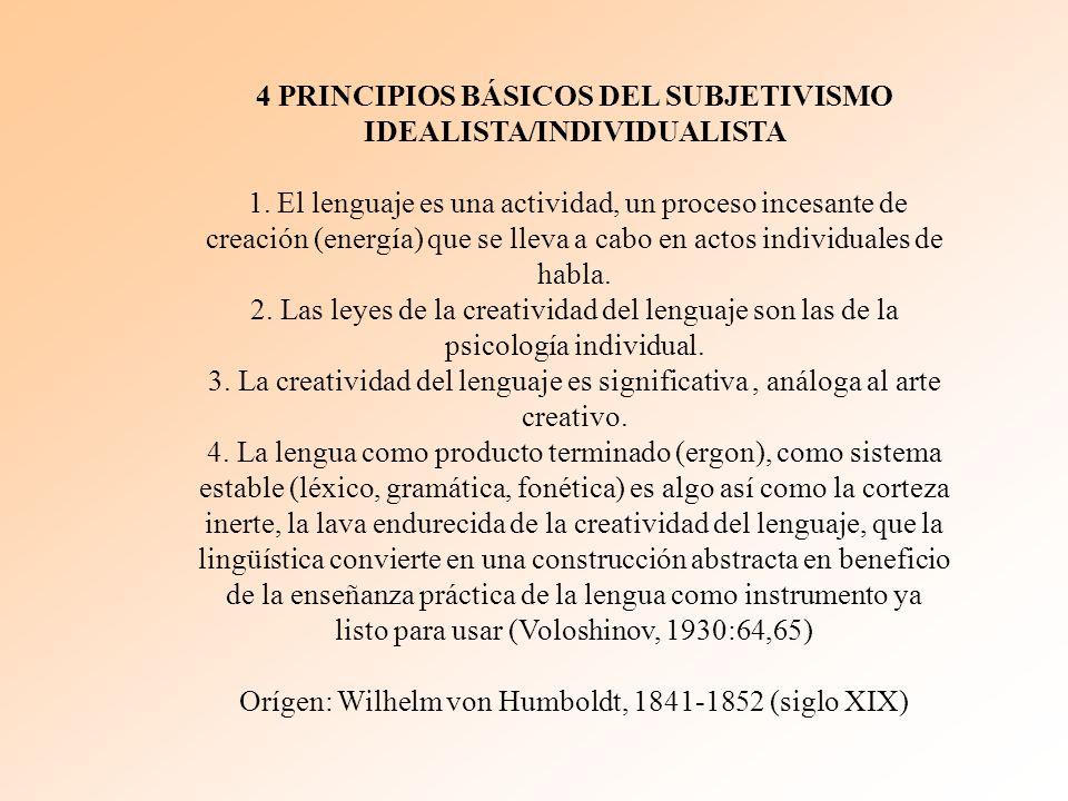 4 PRINCIPIOS BÁSICOS DEL SUBJETIVISMO IDEALISTA/INDIVIDUALISTA
