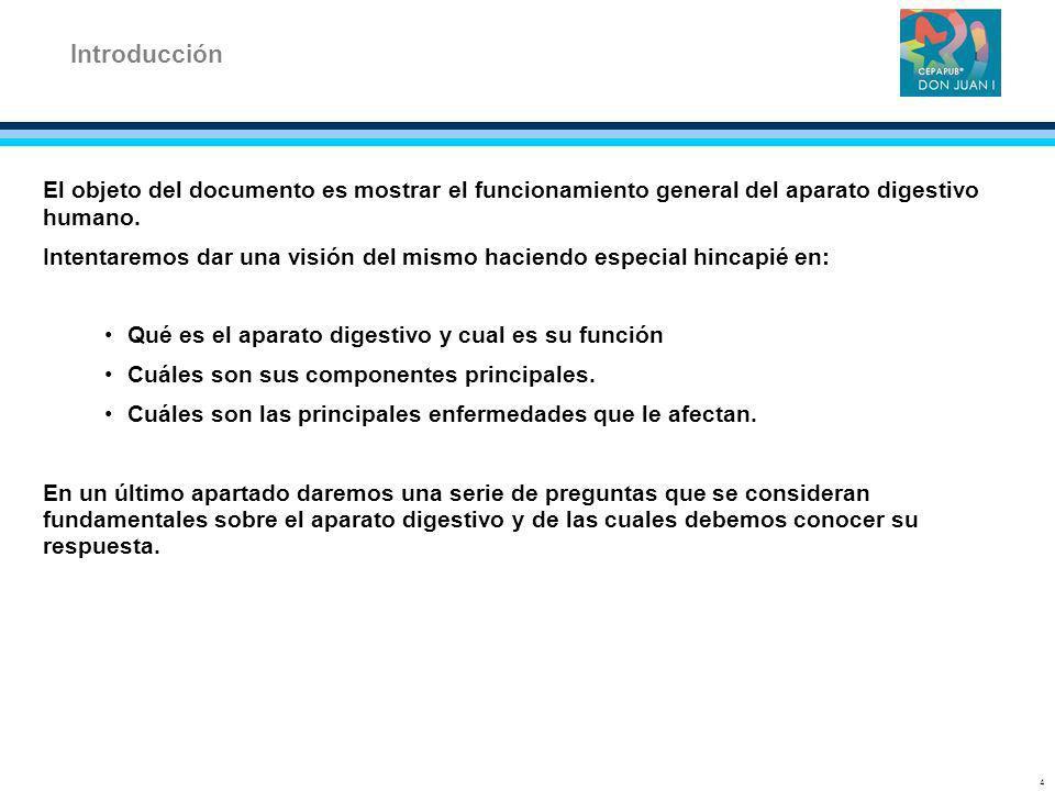 Introducción El objeto del documento es mostrar el funcionamiento general del aparato digestivo humano.