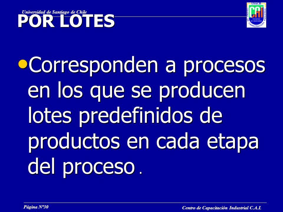 POR LOTES Corresponden a procesos en los que se producen lotes predefinidos de productos en cada etapa del proceso .