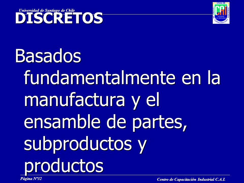 DISCRETOS Basados fundamentalmente en la manufactura y el ensamble de partes, subproductos y productos.