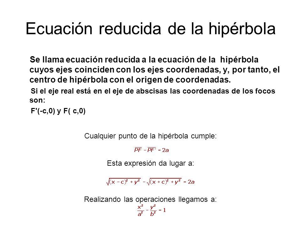 Ecuación reducida de la hipérbola