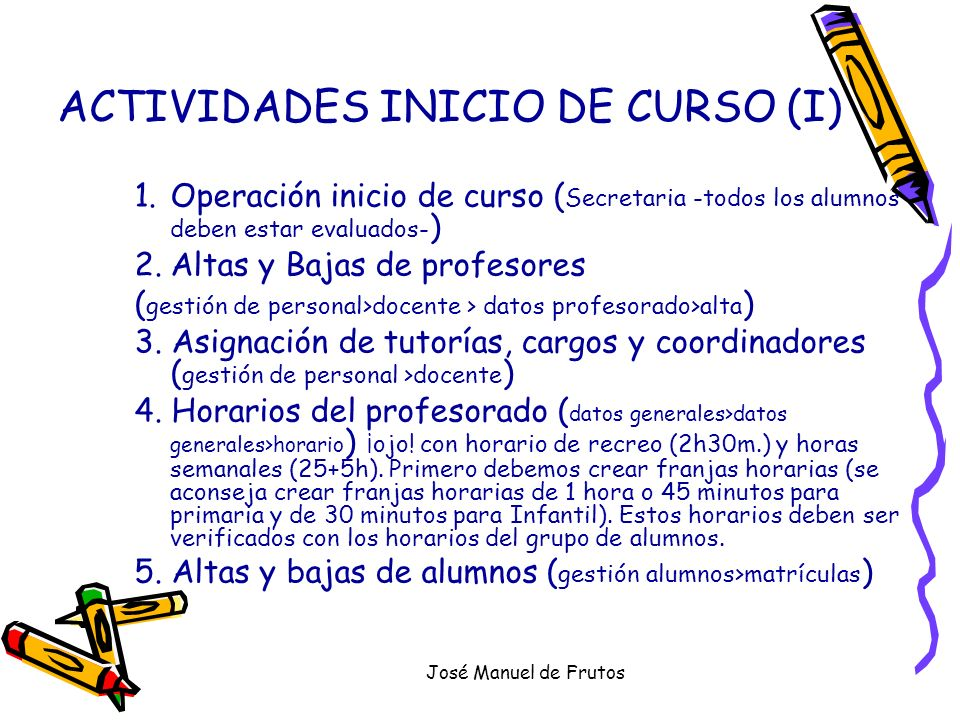 ACTIVIDADES INICIO DE CURSO (I)