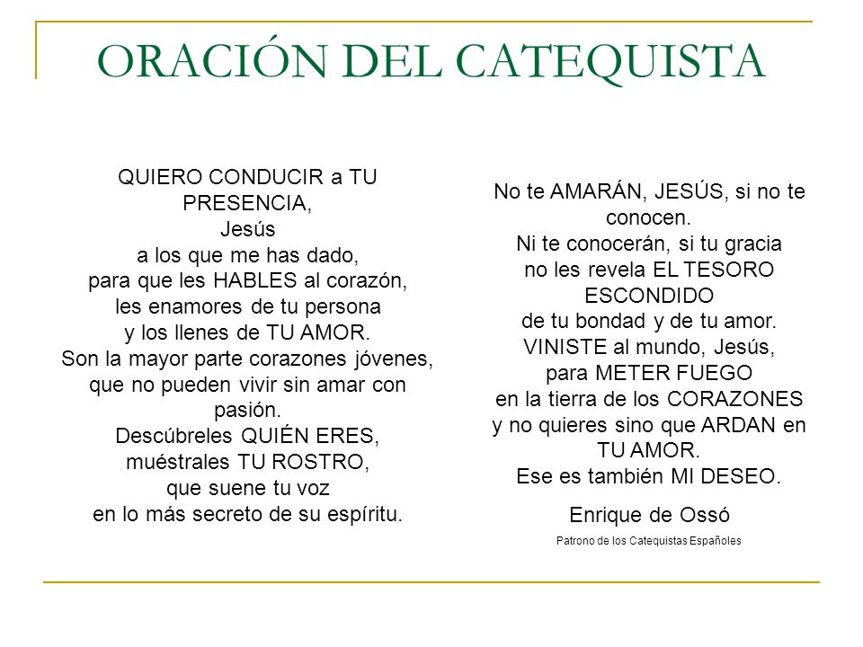 ORACIÓN DEL CATEQUISTA
