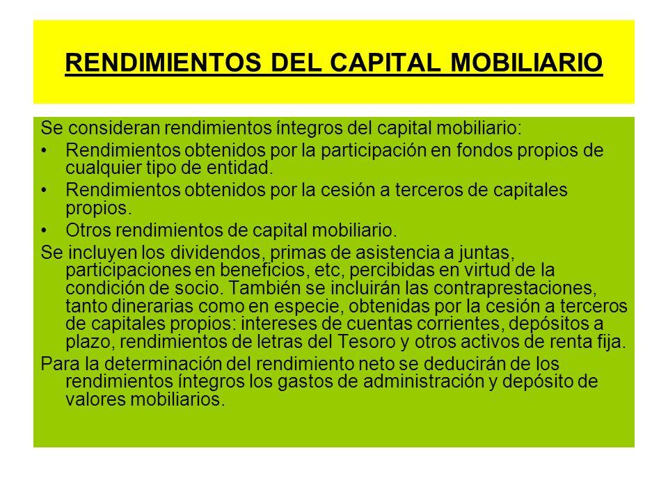 RENDIMIENTOS DEL CAPITAL MOBILIARIO