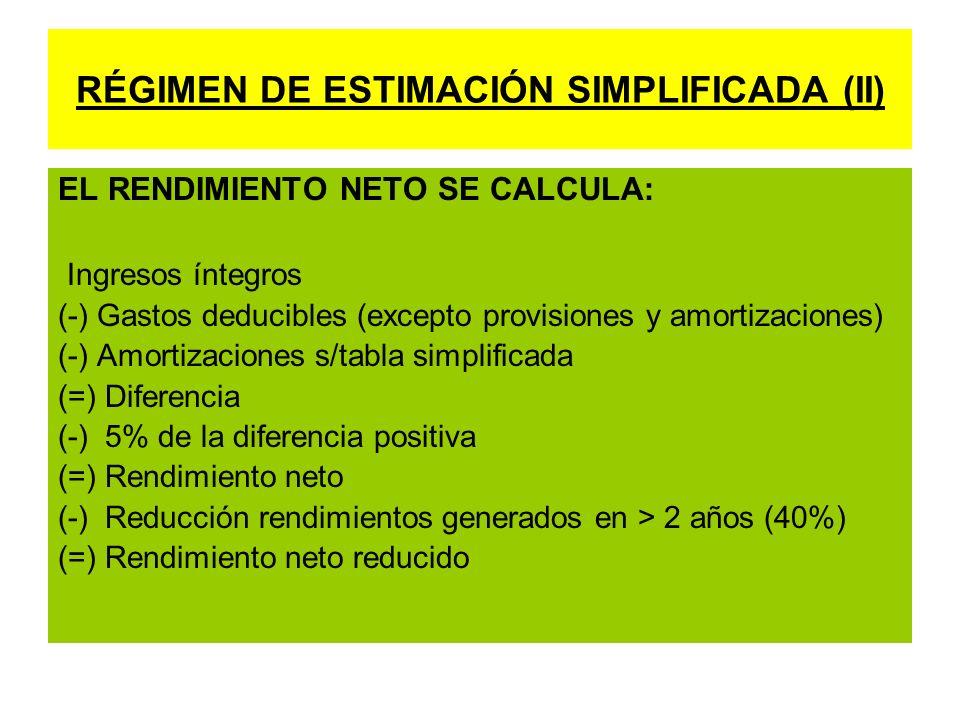 RÉGIMEN DE ESTIMACIÓN SIMPLIFICADA (II)