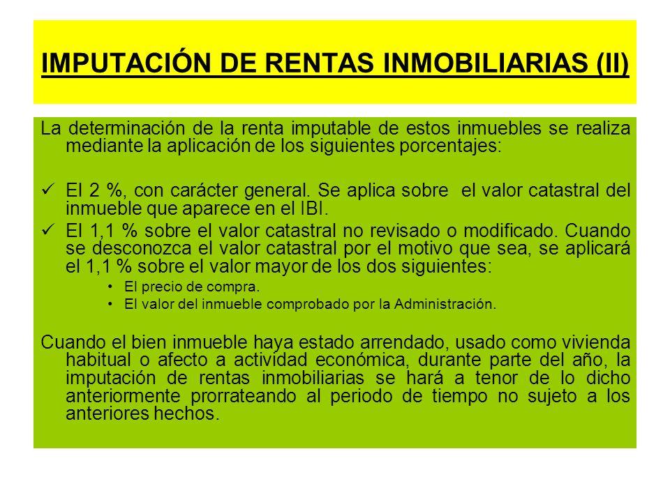 IMPUTACIÓN DE RENTAS INMOBILIARIAS (II)