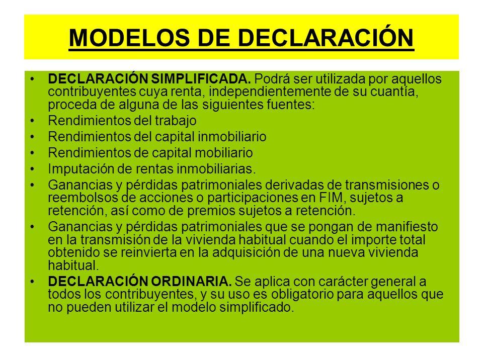 MODELOS DE DECLARACIÓN