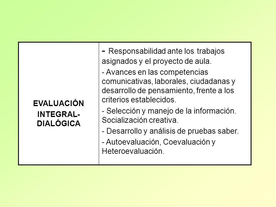 - Responsabilidad ante los trabajos asignados y el proyecto de aula.